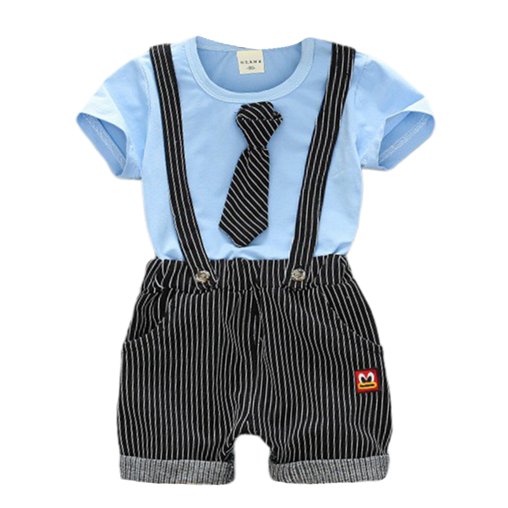 Children Two-piece Suits of Short Sleeves Top+Strips Suspender Shorts Leisure Outfits for Boys Blue_80cm