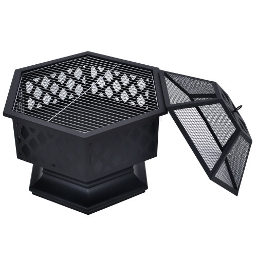 [US Direct] Hexagon Fire  Pit Fireplace Wood Burning Patio Bonfire For Outdoor Camping black