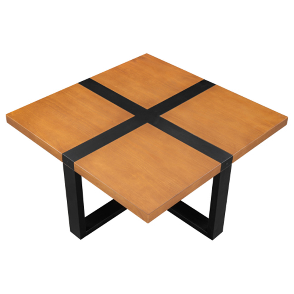 [US Direct] 1 Set Metal+pine U-shaped Coffee Table Cross-shaped Table Top Metal Feet 37.4 Inches Teak Color