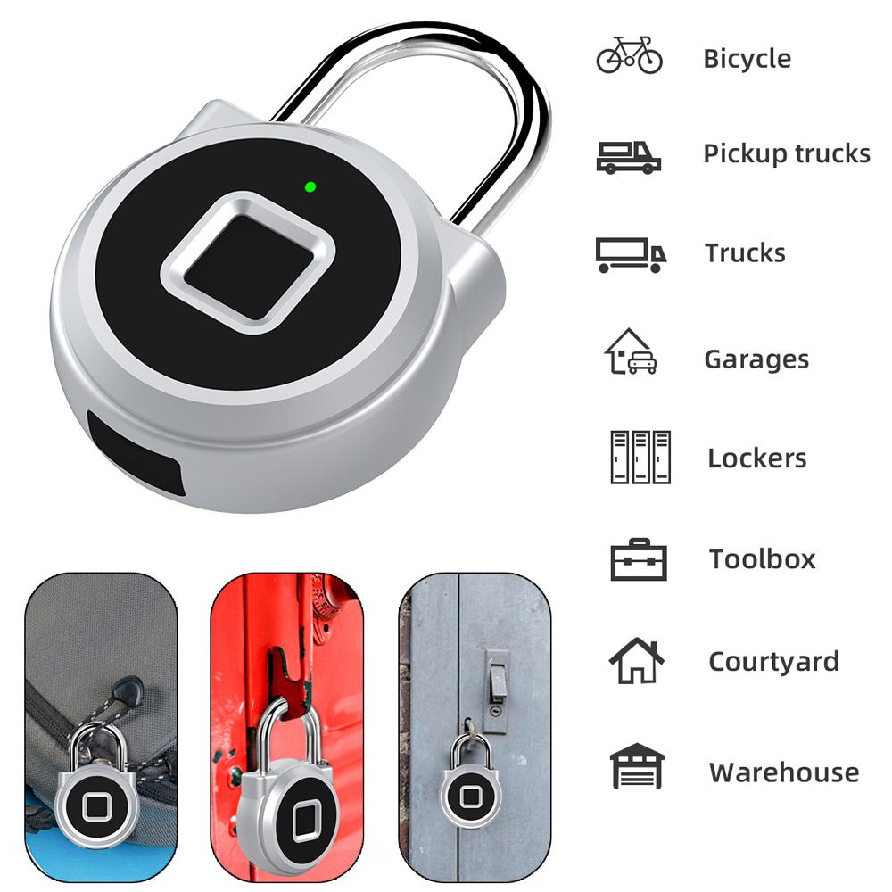 P10 Mini Smart Keyless Fingerprint Lock Waterproof Inteligente Anti-Theft Security Padlock Door Luggage Case Lock Silver