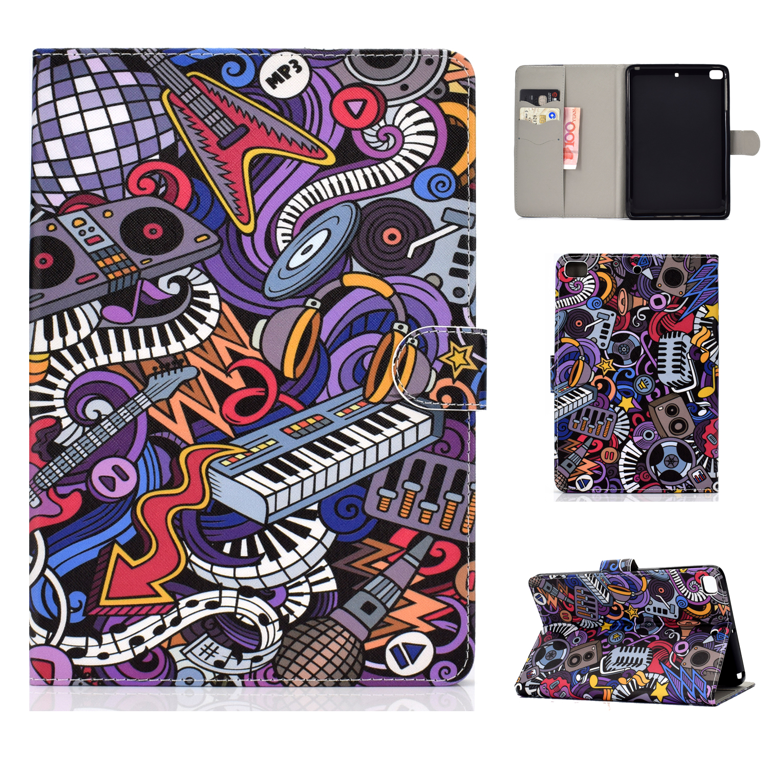 For iPad mini 1/2/3/4/5 Laptop Protective Case Frront Snap Color Painted Smart Stay PU Cover Graffiti