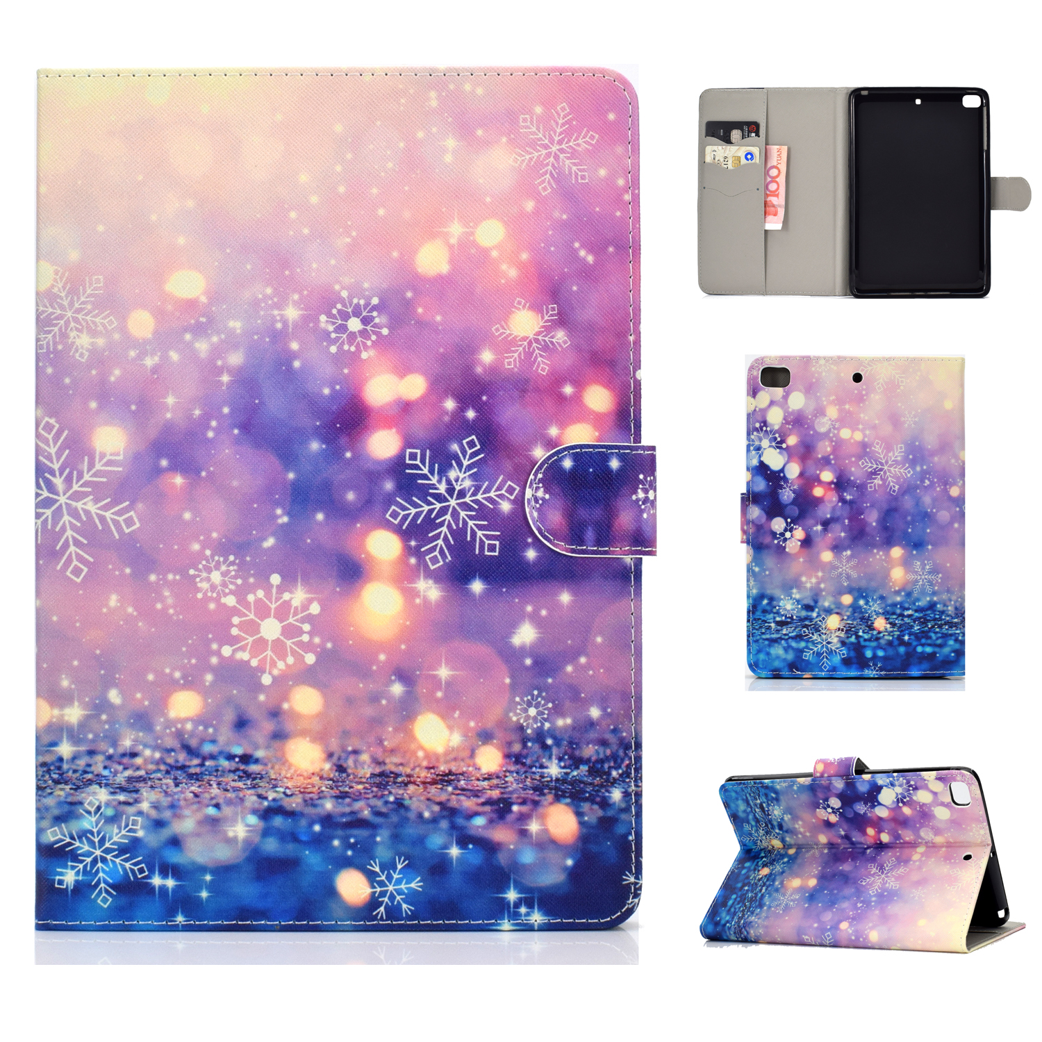 For iPad mini 1/2/3/4/5 Laptop Protective Case Frront Snap Color Painted Smart Stay PU Cover Purple quicksand