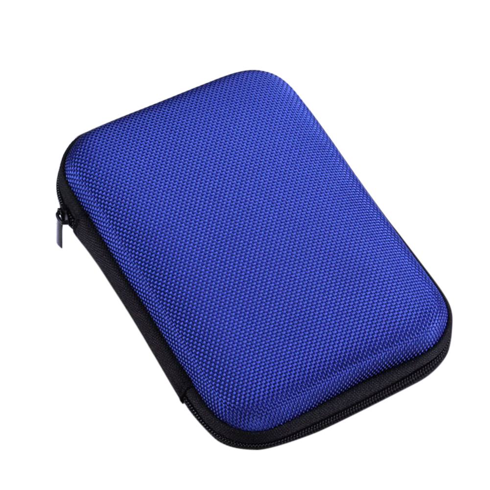 2.5 inch Mobile Hard Disk Box Shockproof Hard Case Data Cable Storage Box blue