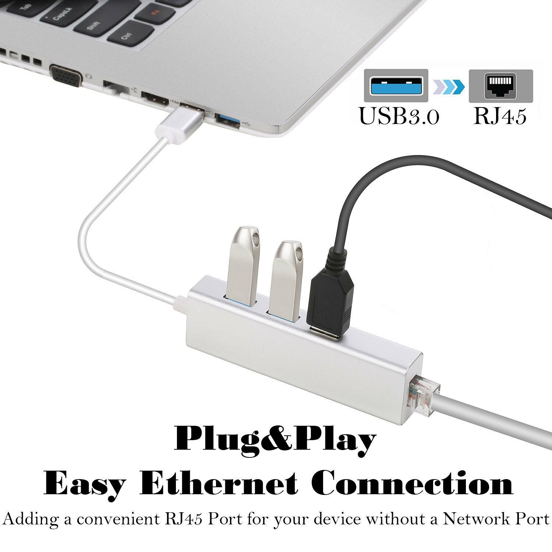 3 Ports USB 3.0 Gigabit Ethernet Lan RJ45 Network Adapter Hub to 1000Mbps Mac PC Silver