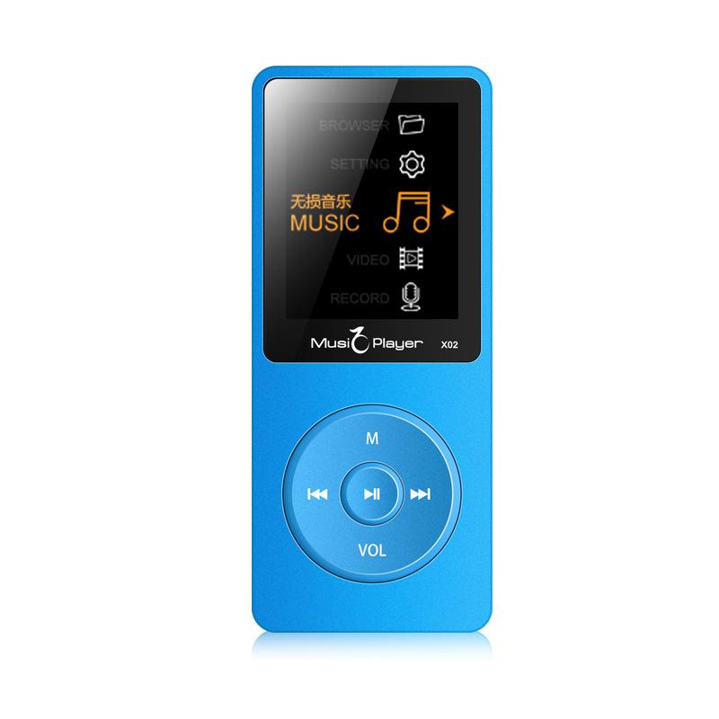 Portable Ultrathin HiFi MP3 MP4 Player Radio FM Recording E-book Folder Walkman Speaker blue