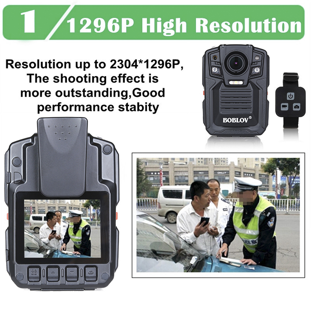 BOBLOV HD66-02 64GB HD 1296P Mini Camcorder Security Body Camera Night Vision Video Recorder  Remote control version (64G)