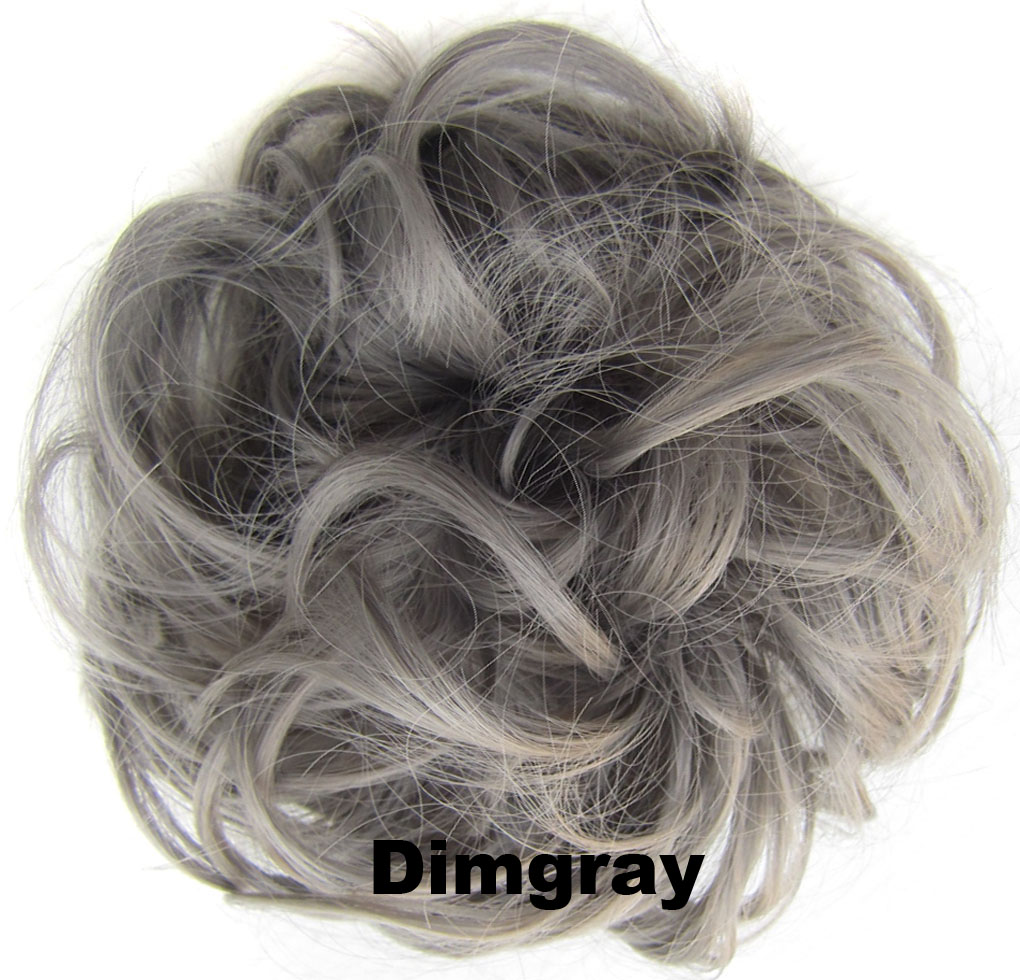 Fashion Synthetic Women Hair Pony Tail Hair Extension Bun Hairpiece Scrunchie Elastic Wedding Wave Curly  Dimgray