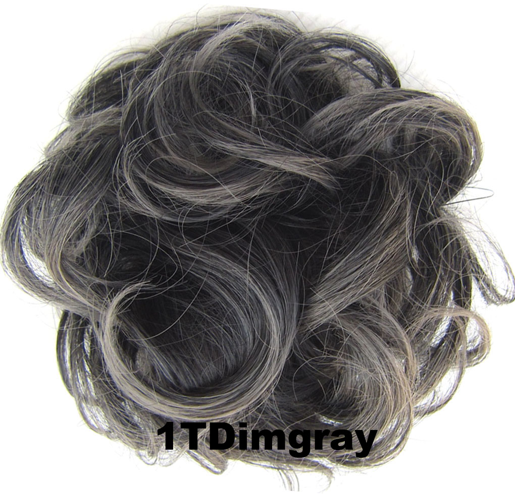 Fashion Synthetic Women Hair Pony Tail Hair Extension Bun Hairpiece Scrunchie Elastic Wedding Wave Curly  1TDimgray