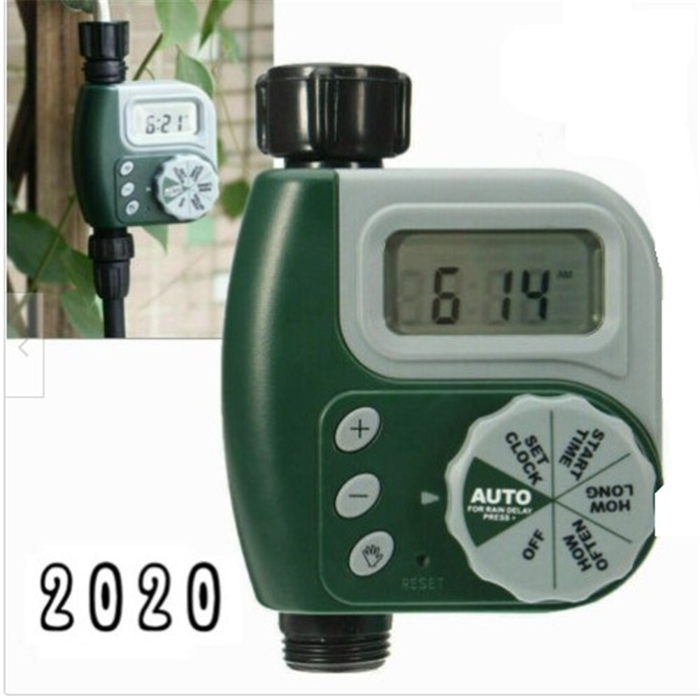 1-slot Irrigation  Controller Automatic Outdoor Garden Watering Hose Faucet Timer Gray + green