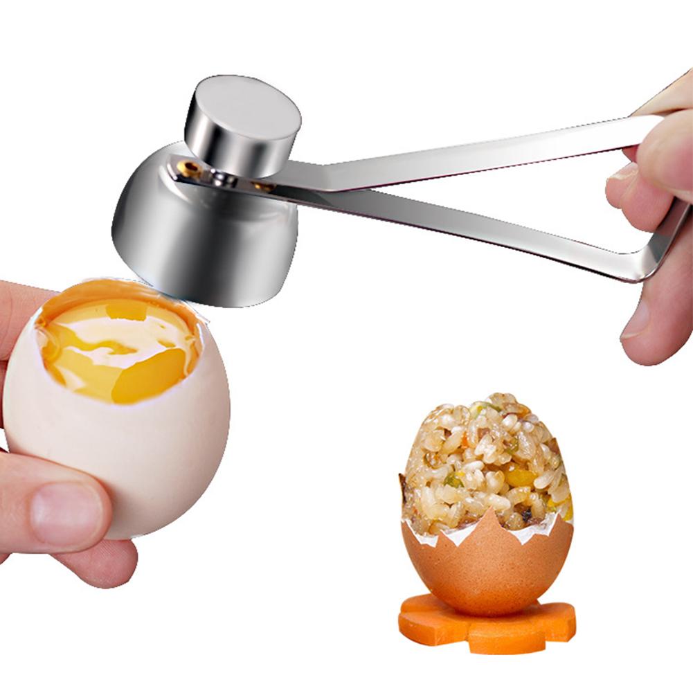 304 Stainless Steel Egg Shell Opener Cutter Cracker Separator for Removing Raw Soft or Hard Boiled Eggs  silver