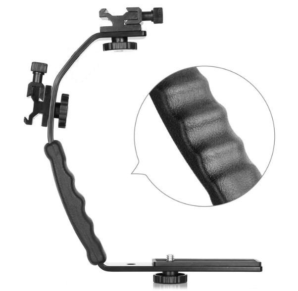 Universal Flash Camera Grip L Bracket Hot Shoe Mount for Flash DSLR Video Light Camcorder Holder  black