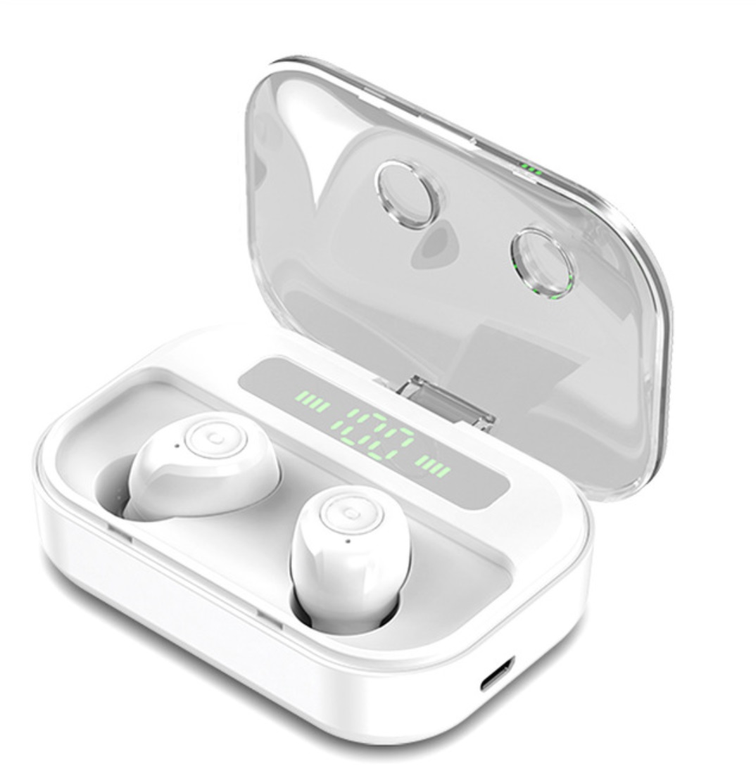 TWS Wireless Earphone LED Power Display Bluetooth 5.0 Noise Cancel Sport Headset Earbuds white