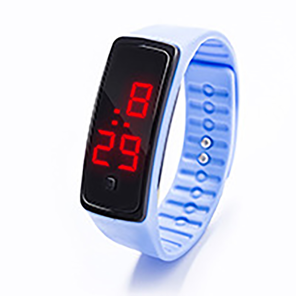 LED Digital Display Bracelet Watch Children's Students Silica Gel Sports Watch Sky blue