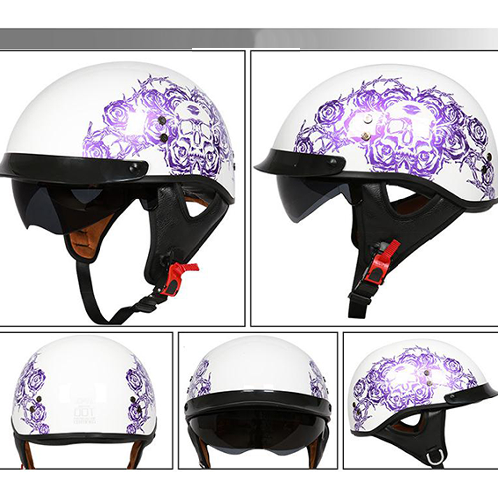 Retro Helemt Half Face Motorcylce Hat FRP Prince Helmet Bright white purple rose M