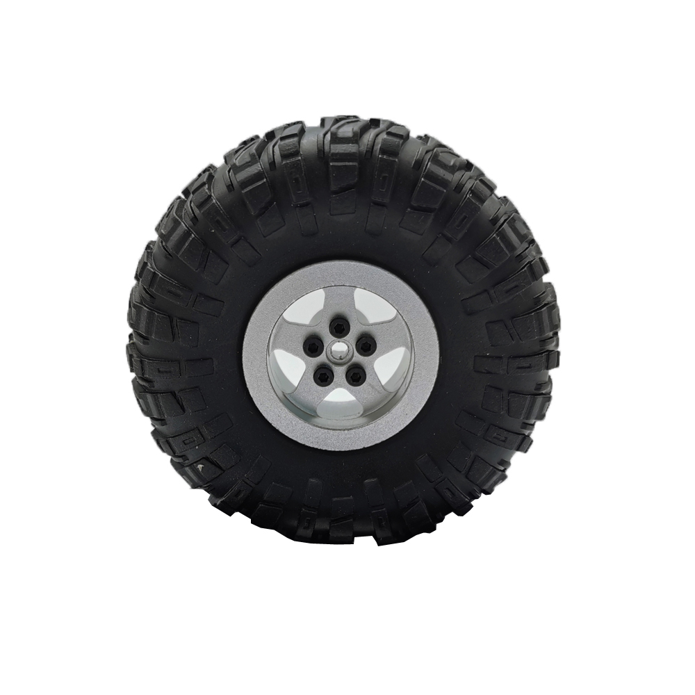 MN Model Metal Beadlock Wheel Rim Rubber Tires Set for MN45 D90 91 96 99 99S 99A 1/12 Rc Car Model Spare Parts DIY  Silver_1PC