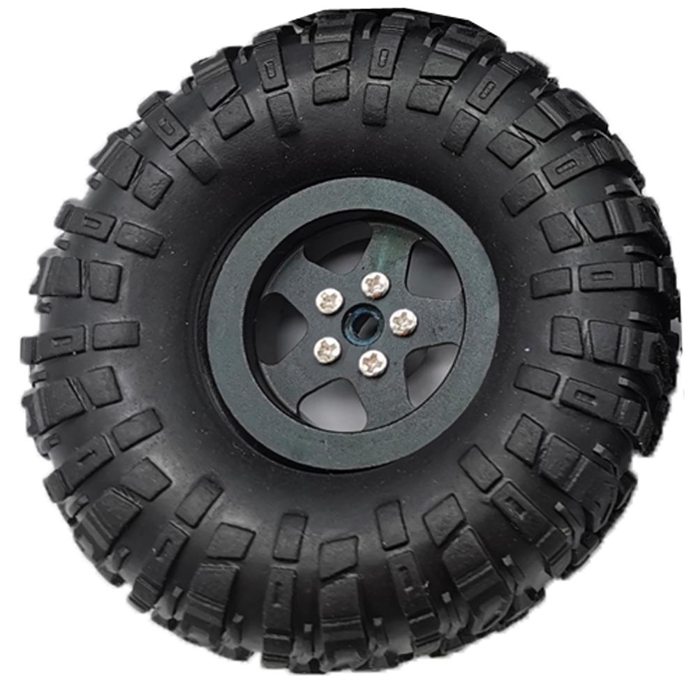 MN Model Metal Beadlock Wheel Rim Rubber Tires Set for MN45 D90 91 96 99 99S 99A 1/12 Rc Car Model Spare Parts DIY  black_1PC