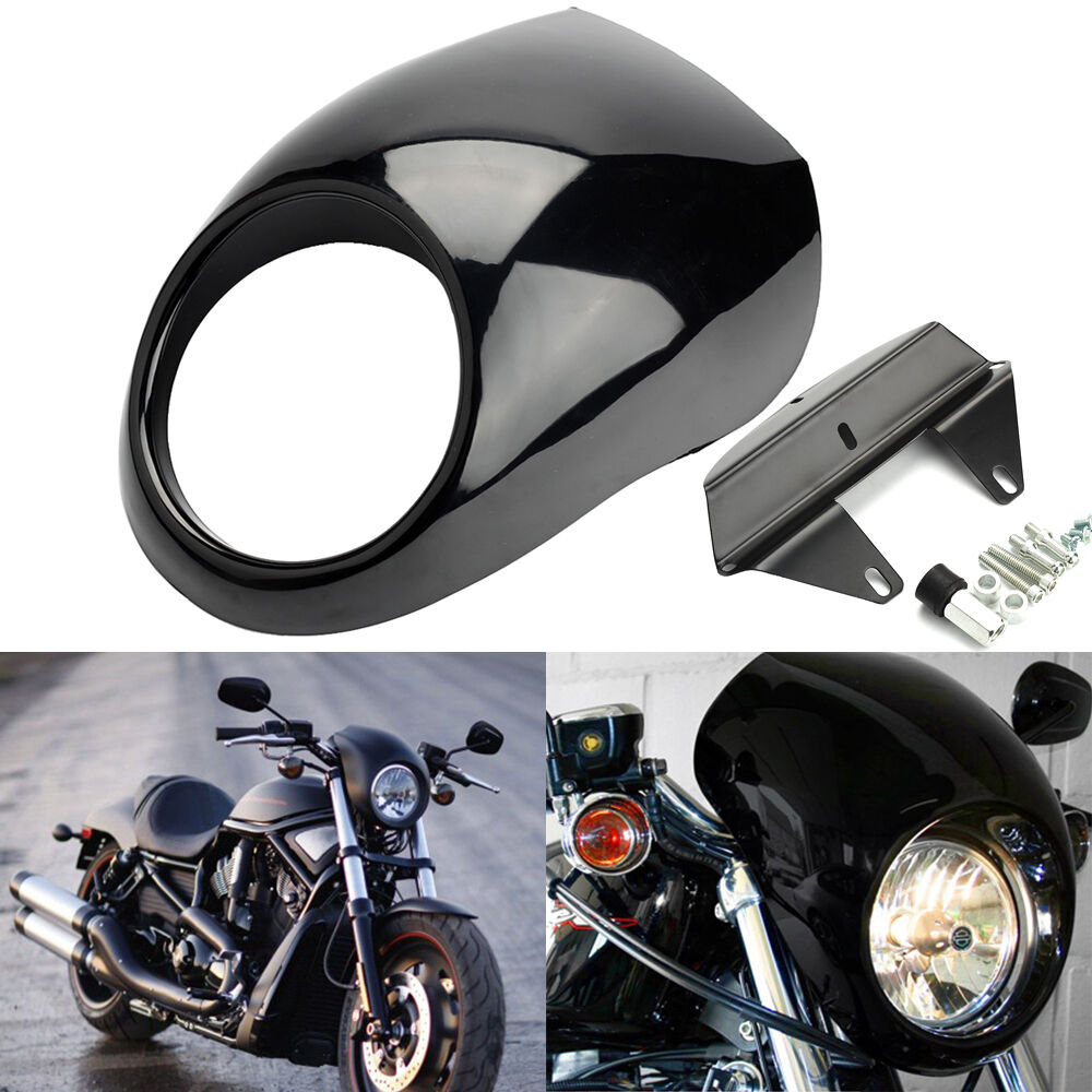 Motorcycle Headlight Mask Headlight Fairing Front Cowl Fork Mount Motorcycle Accessories Bright black