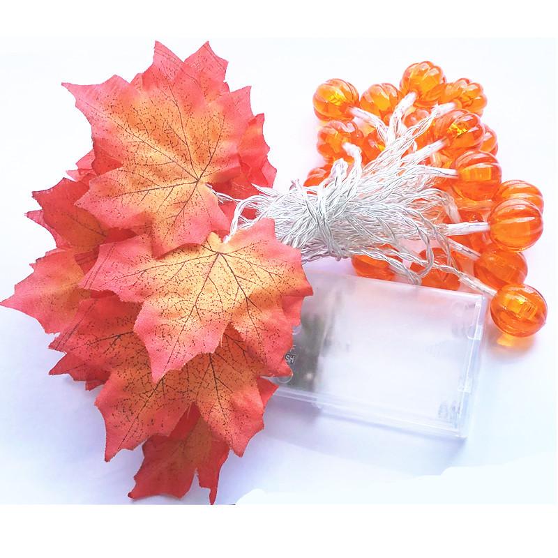 LED String Light Pumpkin Maple Leaf Garland Light for Thanksgiving Christmas Garden Party Room Decor