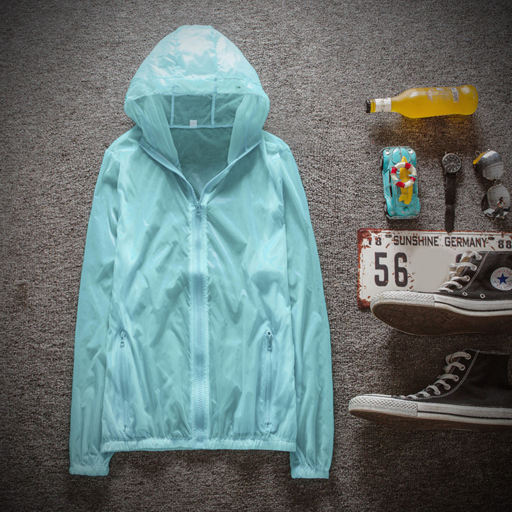 Couple Quick-drying Breathable Anti-UV Wear-resistant Sunscreen Hooded Coat Outdoor Sportswear Light blue_XL