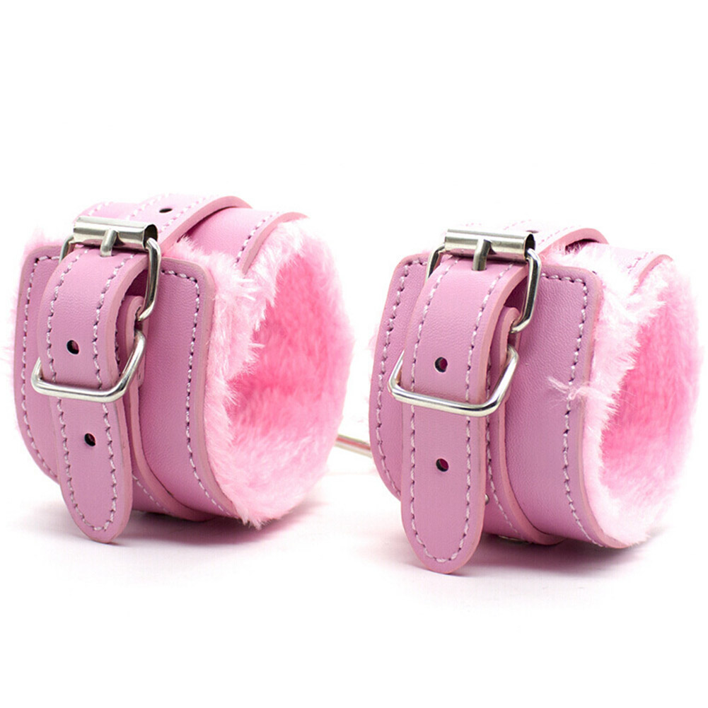Adult Leather Bondage Fetish BDSM Handcuffs Ankle Cuffs Restraints Sex Toy Pink