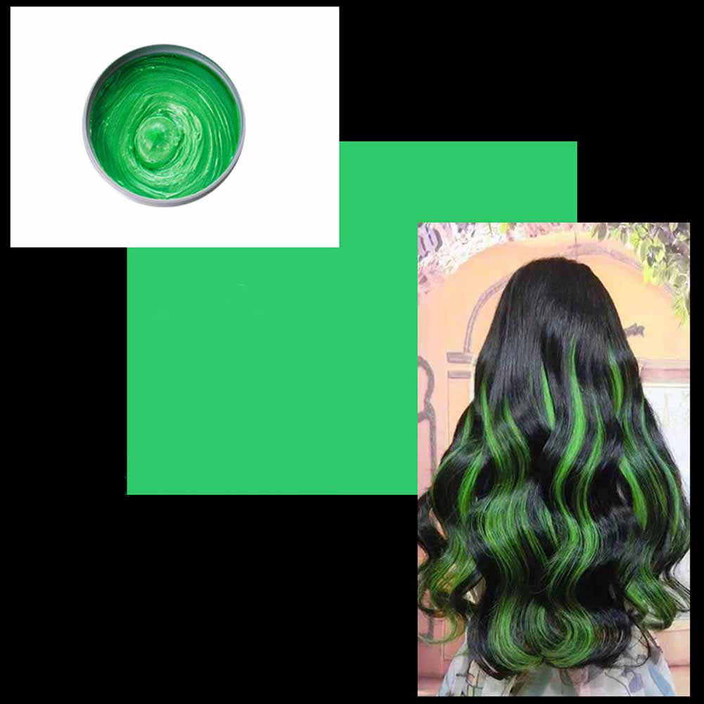 Multicolor Disposable Hair Color Wax Dye One-time Molding Paste Hair Dye Wax Mud Cream green