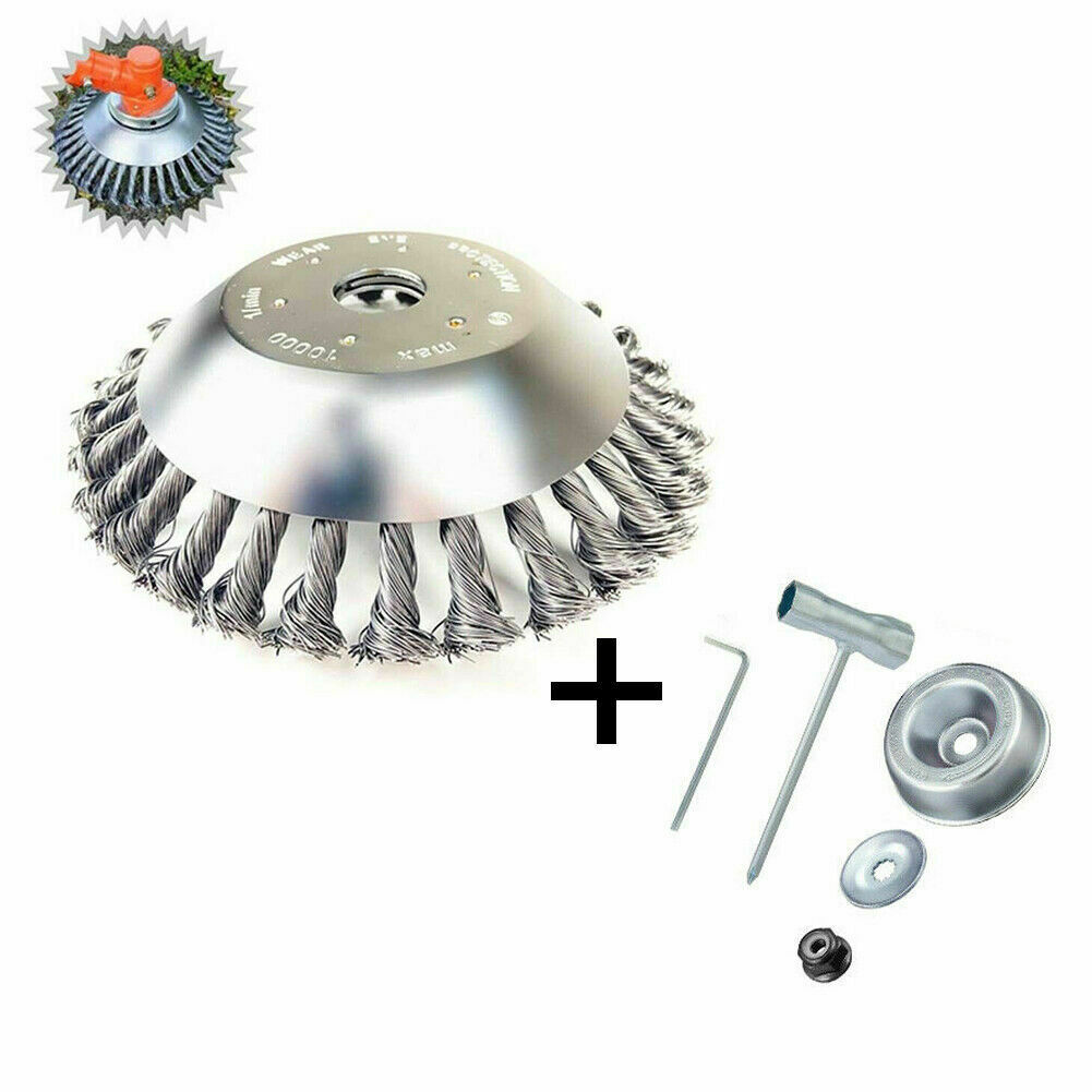 8in Steel Wire Trimmer  Head Brush Cutter Grass Trimmer Head Weed Cleaning Garden Tool 8-inch descaling disc + tool kit 5-piece set