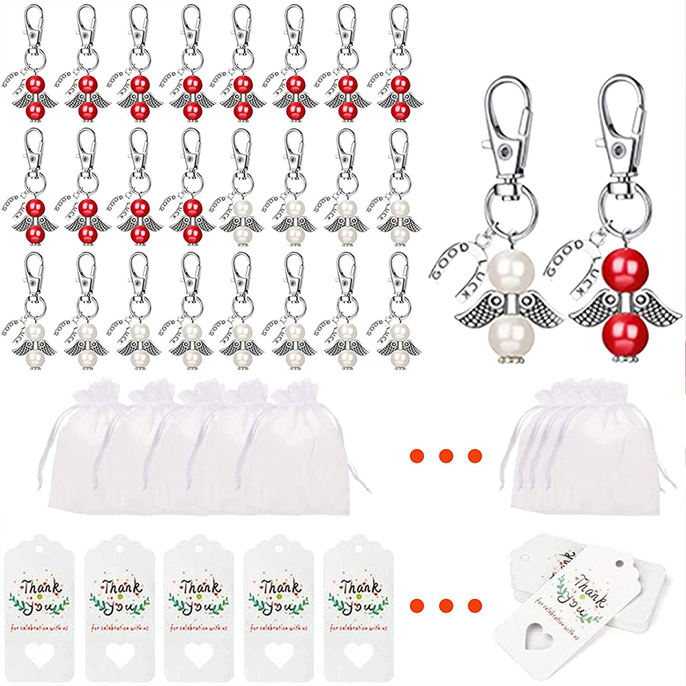 24pcs Guardian  Angel  Keychain Wedding Banquet Table Decoration Birthday Party Christmas Gift White+red