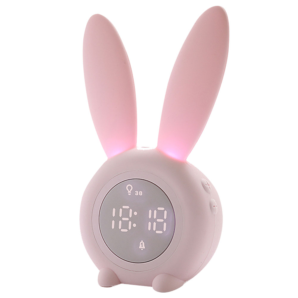 Thermometer Temperature Display Rechargeable Night Light Digital Snoozing Multifunctional Alarm Clock Rabbit Shaped Pink_1W