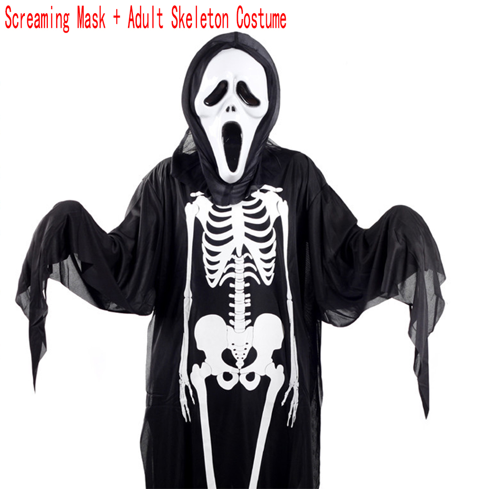 Adults Children Skeleton Ghost Costume for Masquerade Ball Halloween with Terrorist Mask Adult Skeleton Costume + Screaming Mask_free size