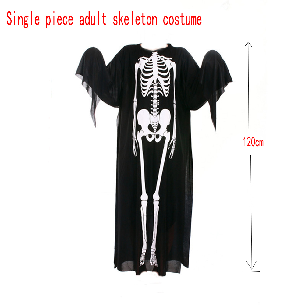 Adults Children Skeleton Ghost Costume for Masquerade Ball Halloween with Terrorist Mask Adult single piece skeleton costume_free size