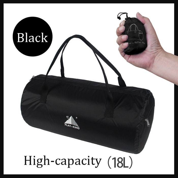Sport Training Gym Bag Wearable foldable travel bag Waterproof bags Outdoor Sporting Tote sport bag black_18 inches
