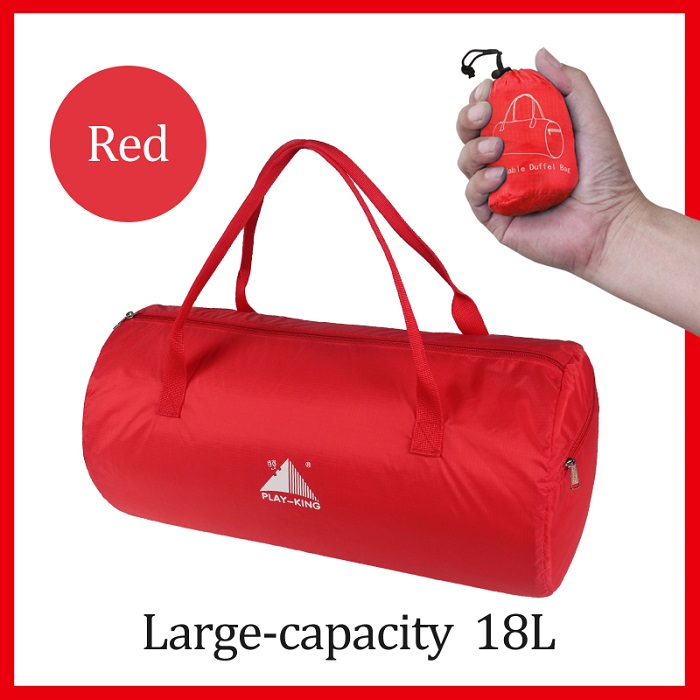 Sport Training Gym Bag Wearable foldable travel bag Waterproof bags Outdoor Sporting Tote sport bag red_18 inches