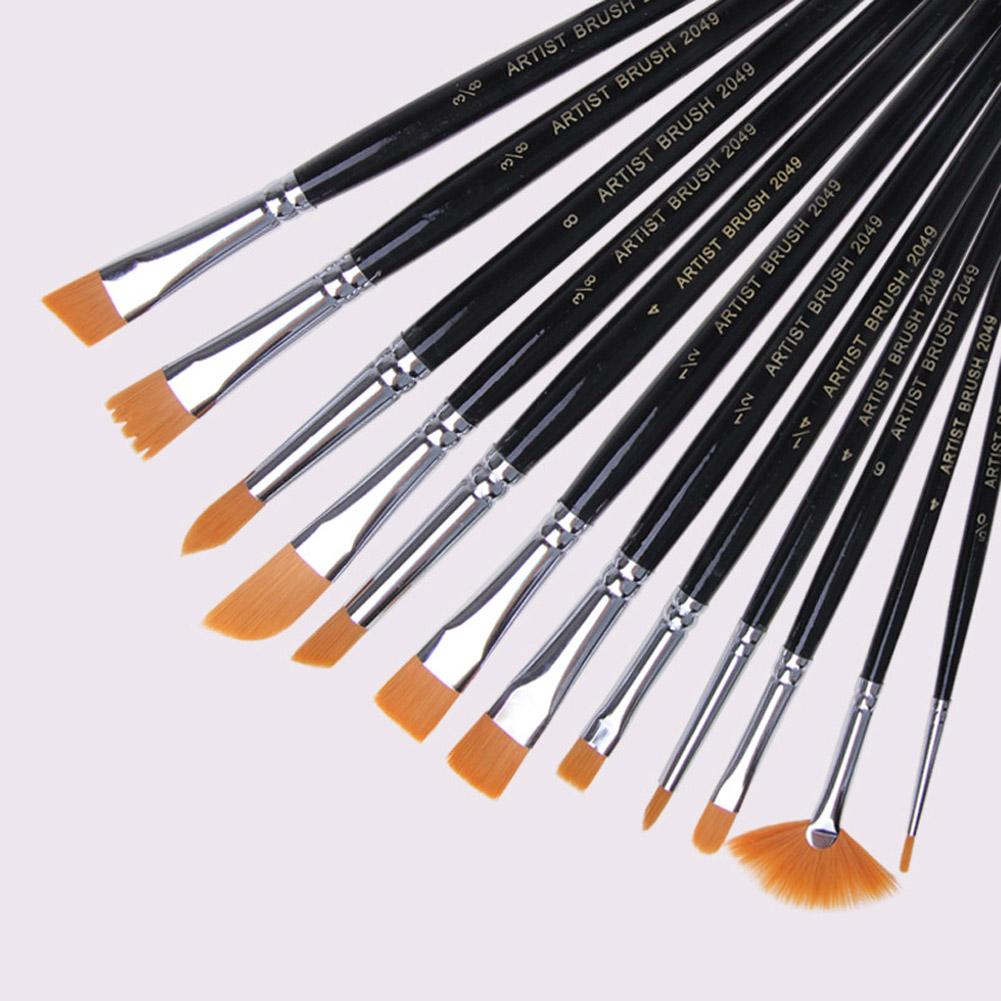 12Pcs/Set Copper Tube Paint Brushes Set with Nylon Hair for Artist Painting