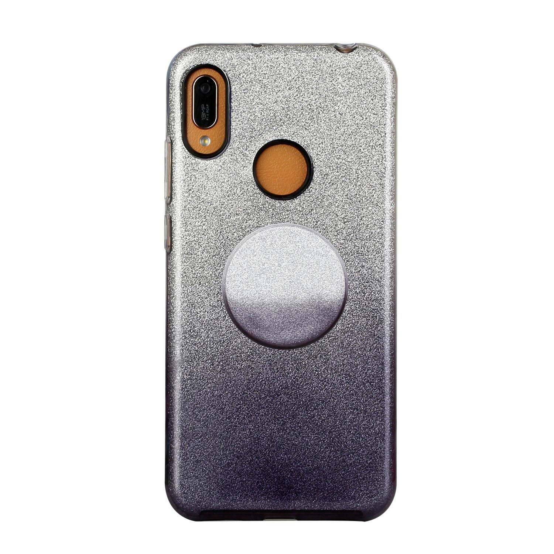 for HUAWEI P20 LITE/P30 LITE/P40 LITE/Nova6SE/Nova 7i Phone Case Gradient Color Glitter Powder Phone Cover with Airbag Bracket black