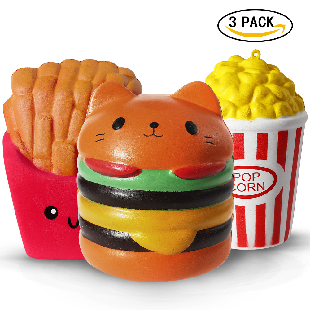 PU Simulation Hamburger Fries Squishy Slow Rising Charms Kid Hand Decorative Gift Fun Stress Relief Toy