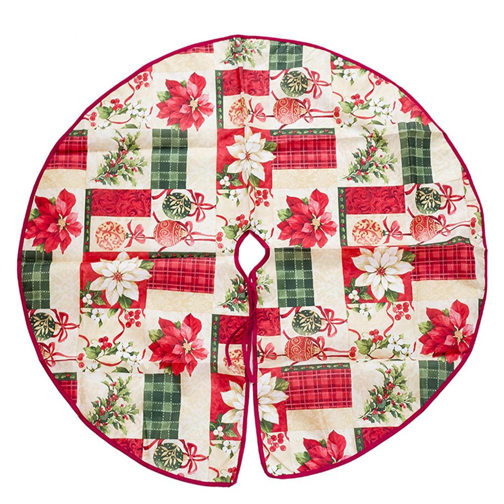 Pretty Printing Christmas Tree Skirt Flower Base Floor Mat Cover for Christmas Party Decor Christmas ball diameter 90cm