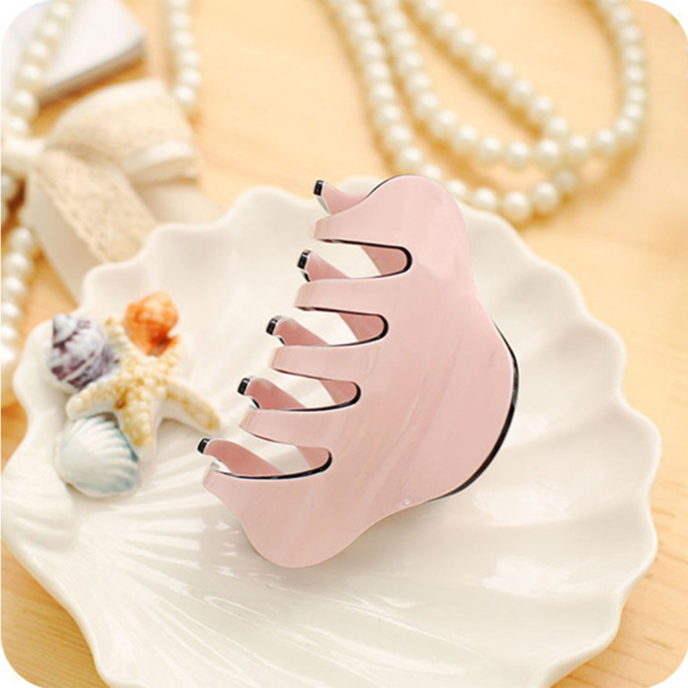 Pure Color Lady Hairpin Simple Style High-grade Hair Ornament Headdress Hair Clips Christmas Gifts Pink