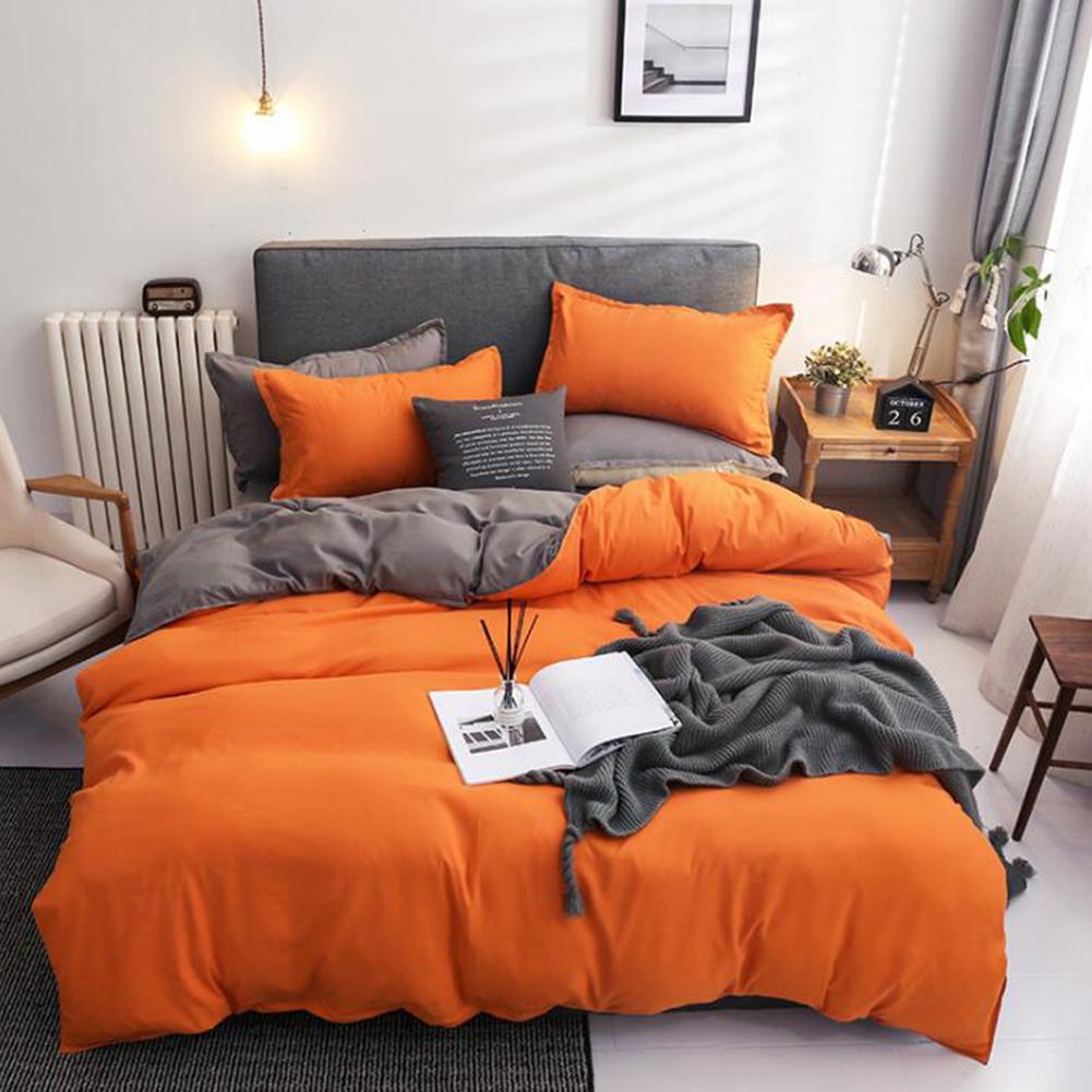 4pcs/set Bed  Cover  Set Chemical Fiber 90g Solid Color Covering For Living Room Orange gray_1.8 four-piece set