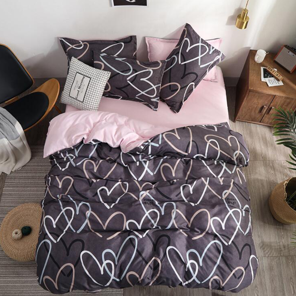 4piece/set Chemical Fiber Bedding  Cover  Set For Student Dormitory Bed Pillow Quilt Cover Sheet Seattle L_1.8 four-piece set