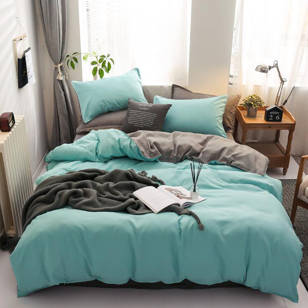 4pcs/set Bed  Cover  Set Chemical Fiber 90g Solid Color Covering For Living Room Dark green gray_1.8 four-piece set