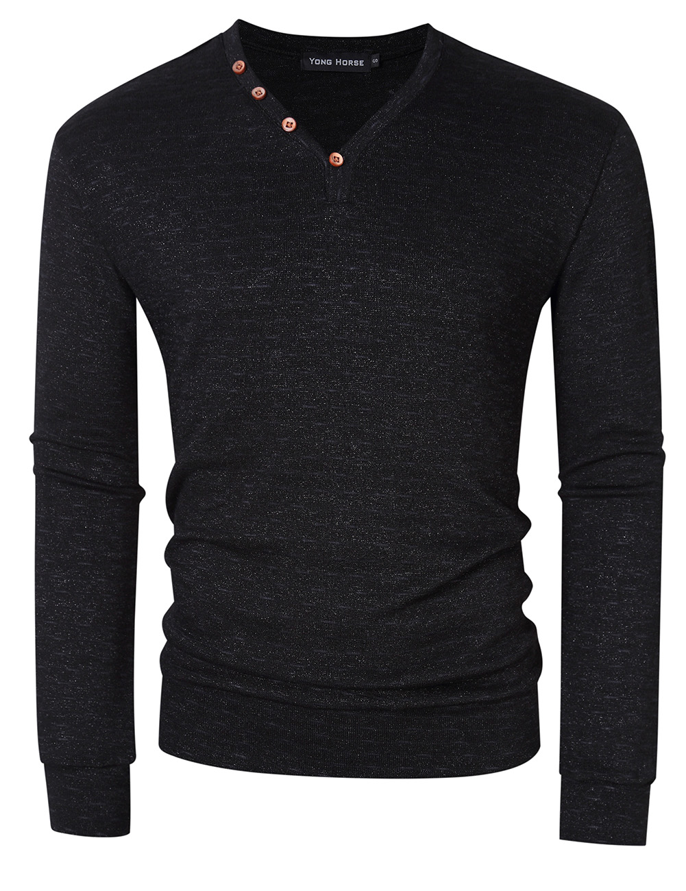 [US Direct] Yong Horse Men's Textured Slim Fit Long Sleeve V Neck Casual Henley Shirt with 4-Button Decor Black_2XL