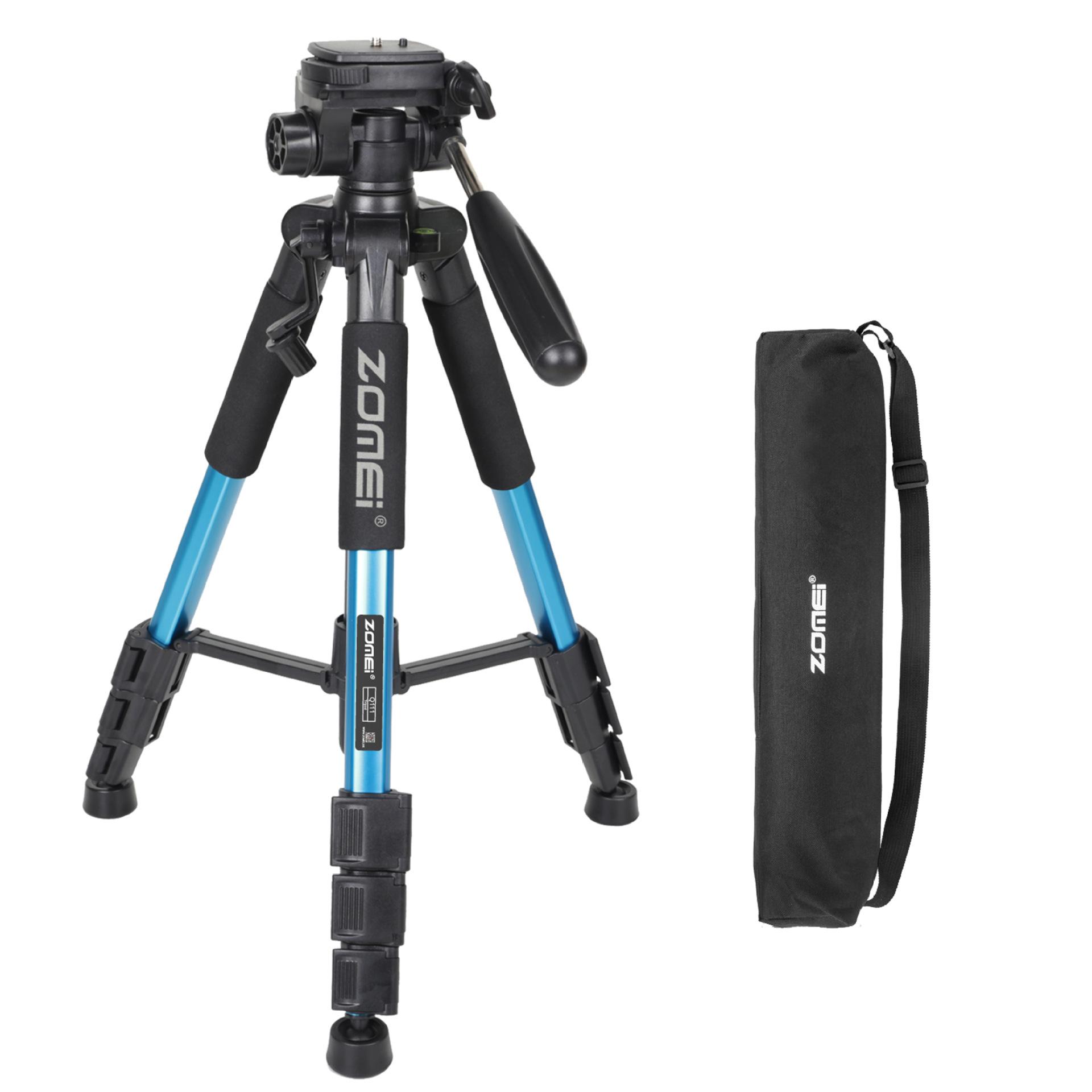 Mobile Phone Bracket Pro Aluminium Q111 Tripod for DSLR Camera Video Fill-in Light Bracket blue