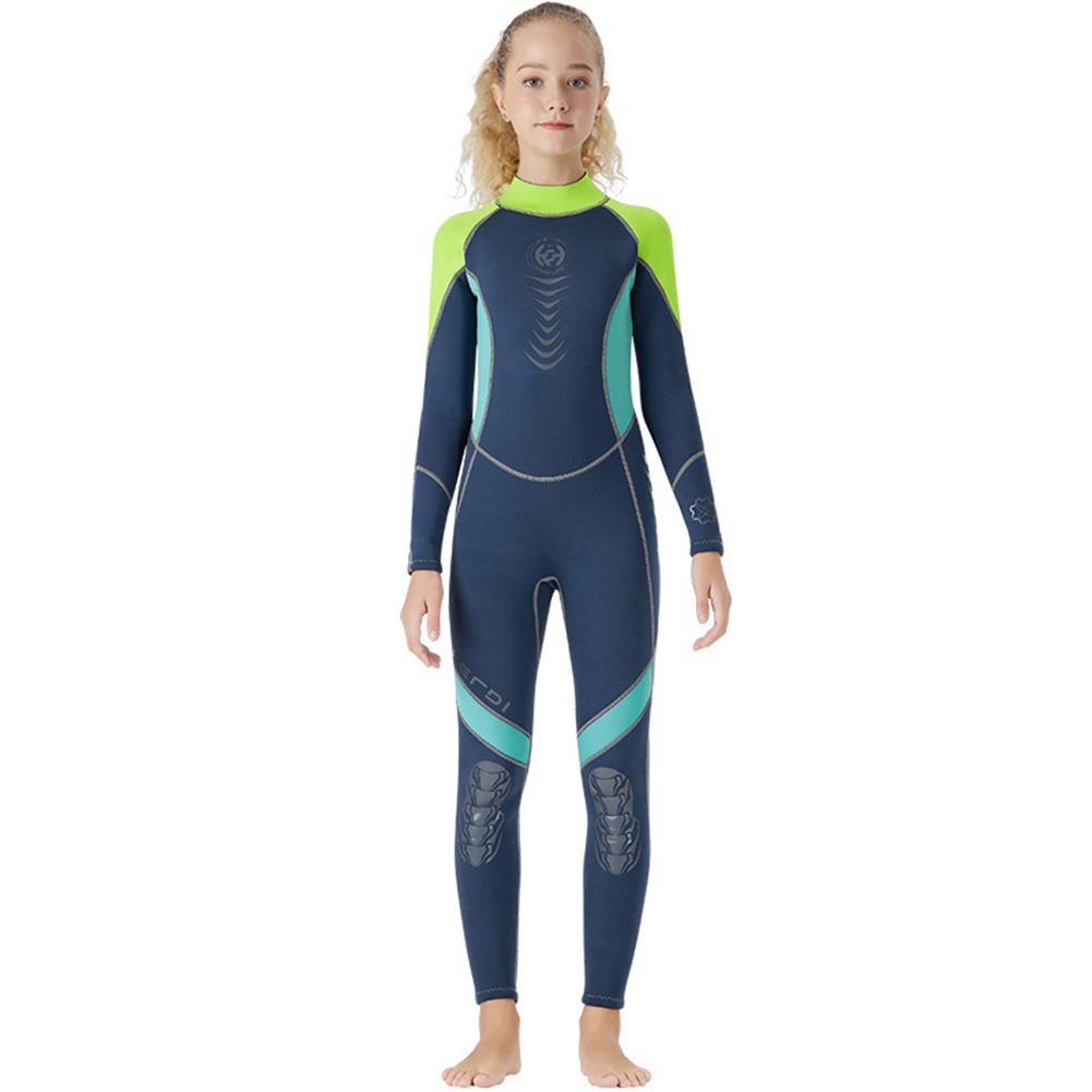 Super Elastic Children Diving Suit 2.5MM Siamese Warm Junior Long Sleeve Surfing Suit blue_S