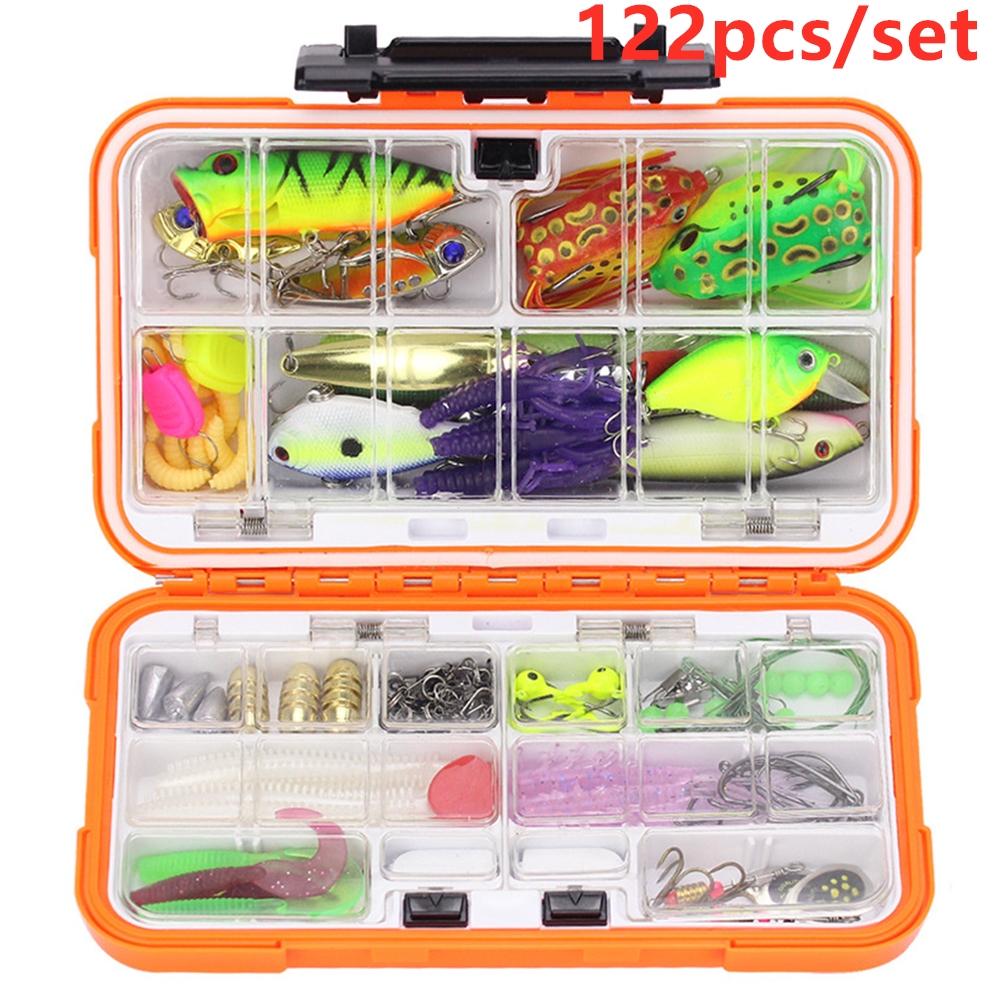 122pcs/set Multi Fishing Lure Mixed Colors Plastic Metal Bait Soft Lure Kit Fishing Tackle Wobbler Spoon Artificias Big orange box_122 pieces lure set