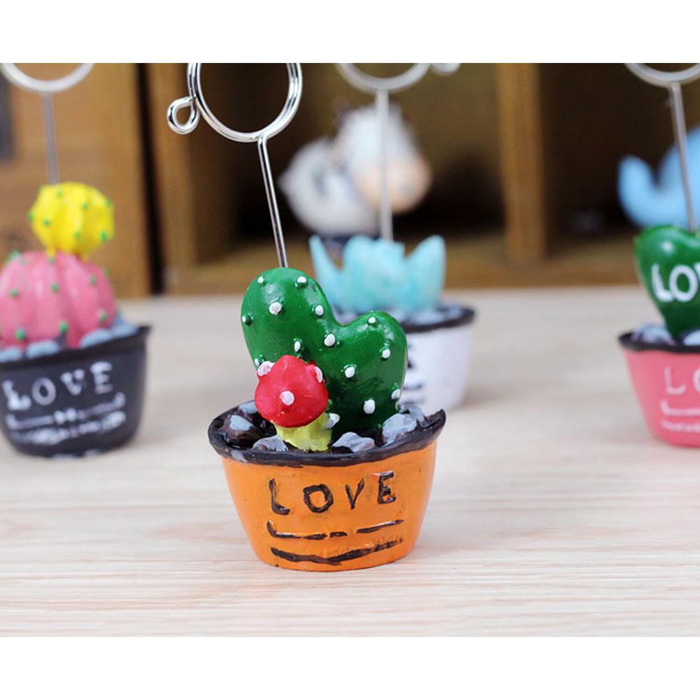 Cartoon Photo Clip Holder Decoration Desk Card Memo Stand Love cactus with strawberry / orange bottom
