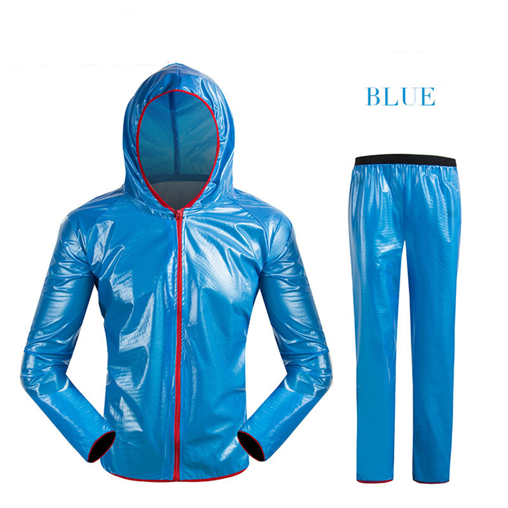 Unisex Cycling Raincoat Suits Outdoor Windproof Waterproof Rainwear Riding Rain Coat + Pants Blue_XL