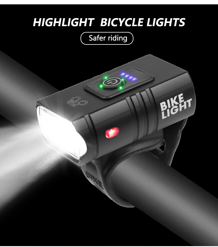 2 T6 LED Bicycle Light High Brightness USB Rechargeable Bike Light Flashlight for Outdoor White light_Model Z-03A