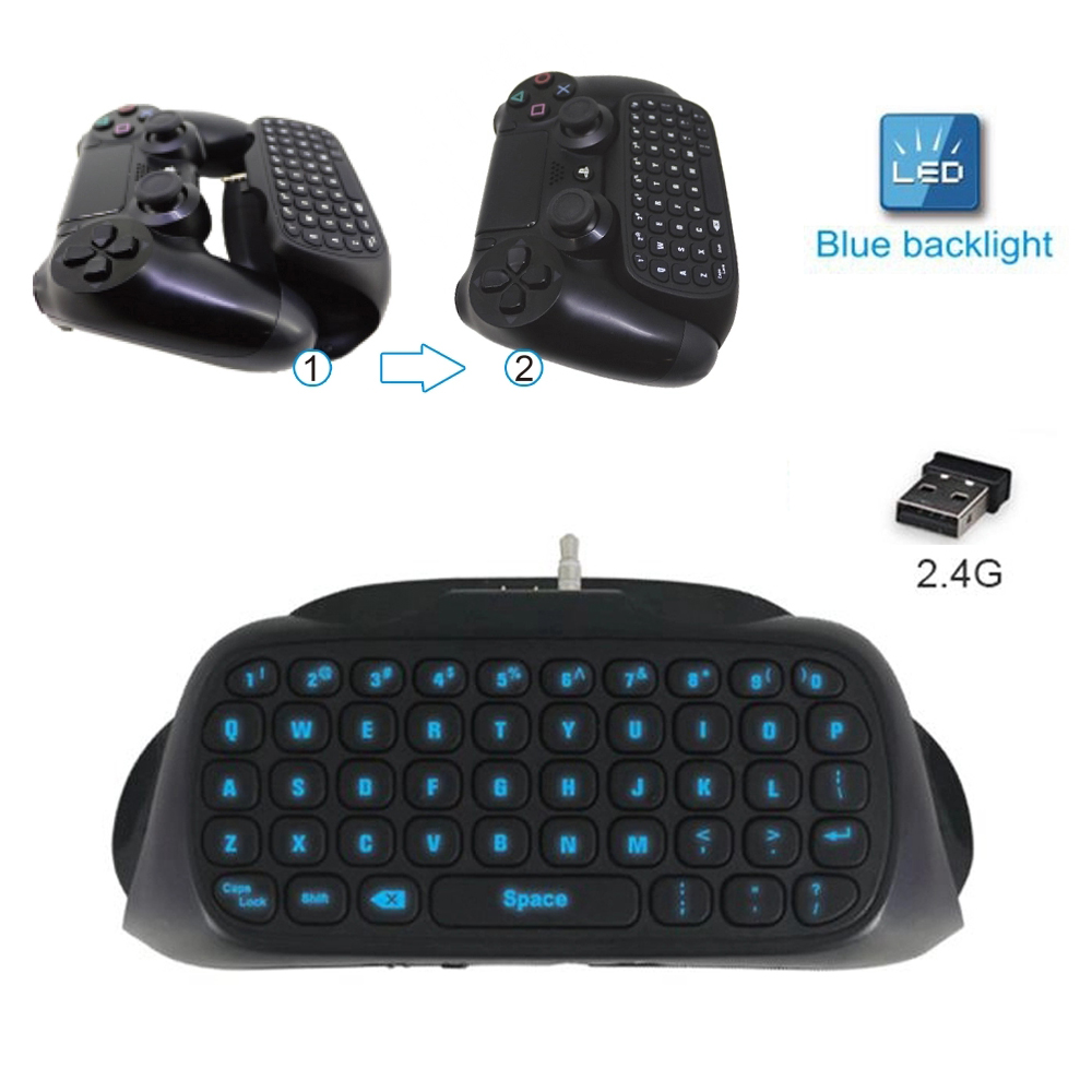2.4G Wireless Bluetooth Backlit Gaming Keyboard for PlayStation4 DualShock4 PS4 Slim Pro Controller Game Accessories  black