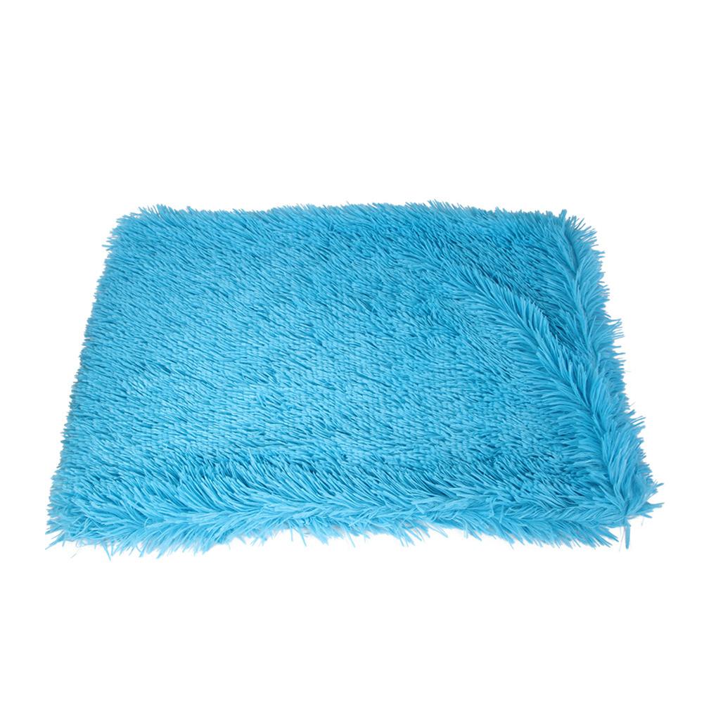 Pet Autumn Winter Dog Nest Warm Mattress Cat Sleeping Pad Long Blanket sky blue_M-89*53