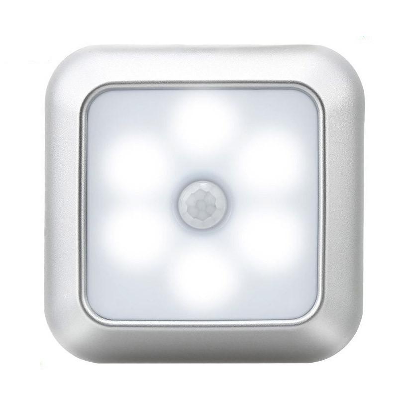 6LEDs Smart Square Shape Motion Sensor Night Light Cabinet Lamp for Home Supplies White light_Silver